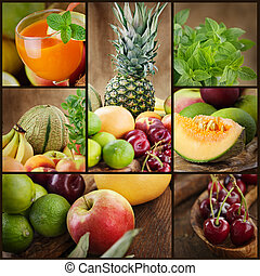 Fresh fruit and juice collage - Food colage series. Collage...
