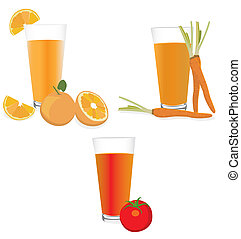 Fresh fruit and juice. Vector illustration.