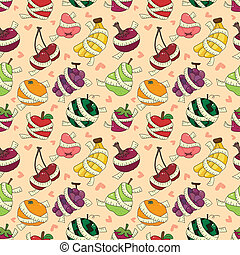 fresh fruit and ruler health seamless pattern