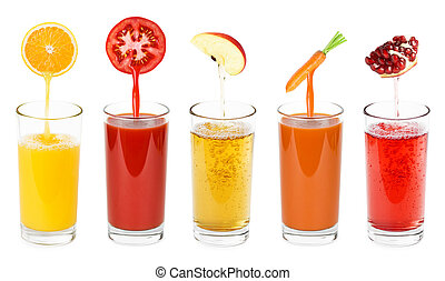 Fresh fruit and vegetable juices in glass