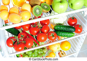 Fresh fruit and vegetables - Fruit and vegetables with drops...