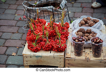 Fresh fruit and vegetables. sale on the market cranberry apple