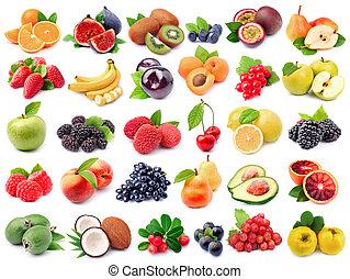 Assortment of fresh fruit isolated on white backgrounds.