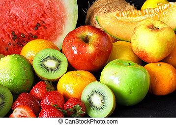 Fresh fruit assortment - Colorful fresh fruit assortment on...
