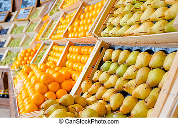 Fresh fruit at the supermarket
