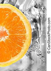 Fresh fruit - colorful orange slice on a fresh background