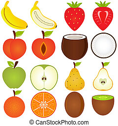 Fresh fruit cut in half - A vector collection of Fresh fruit...