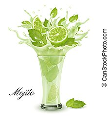 Fresh fruit drink splash. Whole and sliced lime and green ...