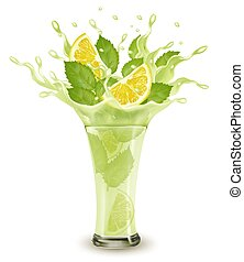 Fresh fruit drink splash. Whole and sliced limon and green ...