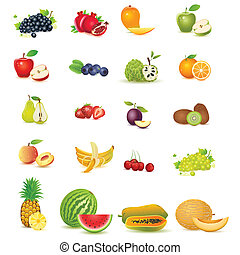 easy to edit vector illustration of fresh fruit with slice