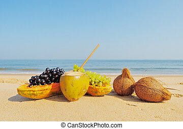 Fresh Fruit - Exotic tropical fruit on the sandy beach