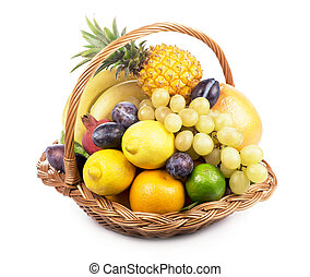 Fresh fruit in a wicker basket