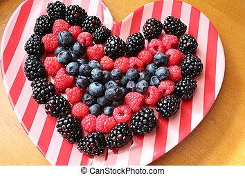 Fresh fruit in shape of heart