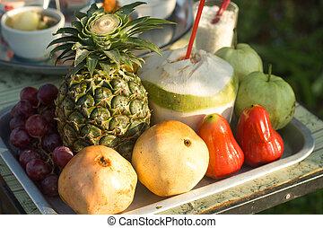 Fresh fruit in tray.