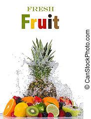 Fresh fruit in water splash on white background
