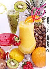 Fresh fruit juice cocktails