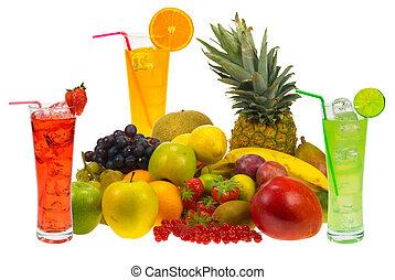 fresh fruit juice - lots of fresh fruit and juice isolated ...