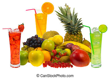 fresh fruit juice - lots of fresh fruit and juice isolated...