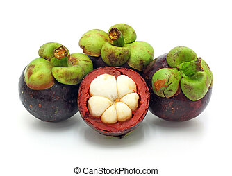 fresh fruit, mangosteen on white background