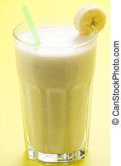 fresh fruit milk shake banana and caramel isolated
