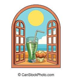 Fresh fruit nutrition healthy window frame