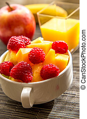fresh fruit on the breakfast table