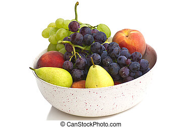 fresh fruit on the white