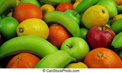 Fresh Fruit Platter Moving Shot - Apples, oranges, lemons...