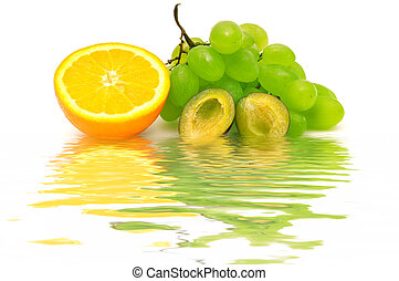 Fresh fruit reflected in water