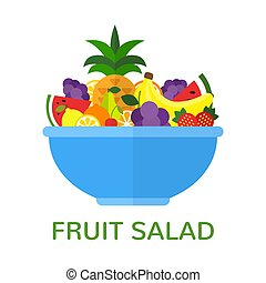 Fresh fruit salad in blue bowl isolated on white background. Healthy food concept. Vegan menu. Vector illustration