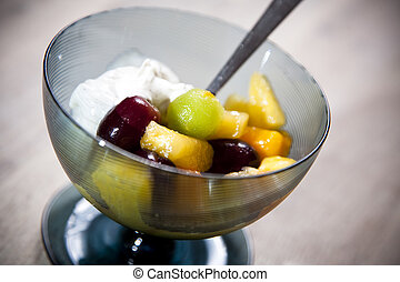 Fresh fruit salad in cups