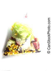 fresh fruit salad pack on white
