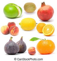 Fresh Fruit Set Isolated on White Background