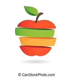Fresh fruit slices, colorful vector illustrations icon