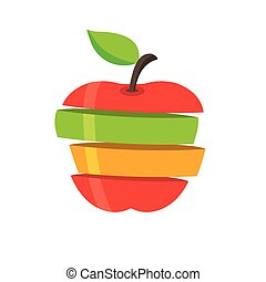 Fresh fruit slices, colorful vector illustrations iconFresh fruit slices, colorful vector illustrations icon