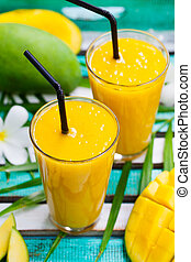 Fresh fruit smoothie mango juice and fresh mango