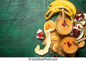 Fresh fruit smoothie.