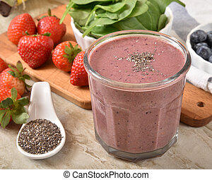 Fresh fruit smoothie with chia seeds