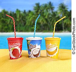 fruit smoothies - fresh fruit smoothies on a tropical beach