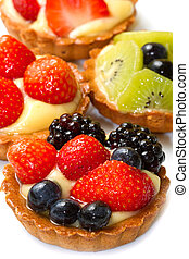 Fresh fruit tart on white background
