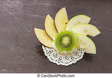 Fresh fruit tart on wooden background