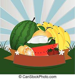 Fresh fruit  ,vector