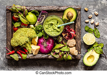 fresh fruit, vegetables, cereals, nuts and greens, the ingredients for a healthy lifestyle, healthy eating