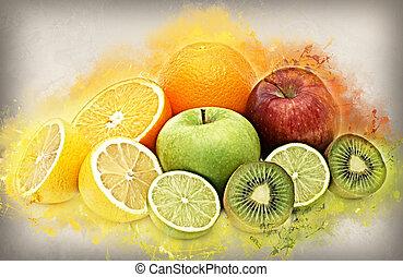 Fresh fruit with grunge effect