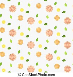 Fresh fruit with mint leaves. Pattern. Seamless.