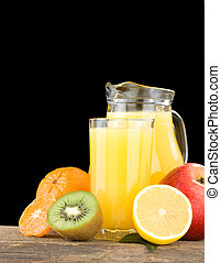 fresh fruits and juice in glass
