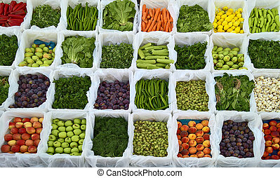Fresh fruits and vegetable at a market.