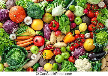 Fresh fruits and vegetables - Assortment of fresh fruits and...