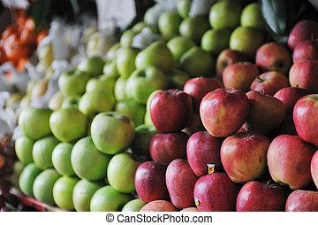 fresh fruits and vegetables at market