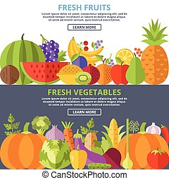 Fresh fruits and vegetables flat
